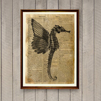 Nautical decor Seahorse print Sea life poster Dictionary page WA854