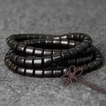 Natural EBONY Barrel Beaded Buddha Multilayer 108 Bead Bracelet Black Charm Bracelets For Women And Men Wood Zen Jewelry