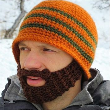 Crochet Wacky Bearded Beanie Knitted Hat