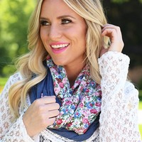 Picking Wildflowers Scarf in White