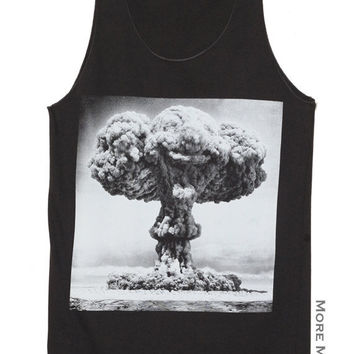 Atomic Bomb Fat Man Nuclear Explosion Charcoal Black Art Singlet Vest Tunic Tank Top Sleeveless Shirt Women Indie Punk Rock T-Shirt Size S-M