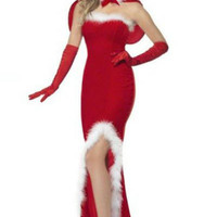 Red Strapless Long Back Christmas Dress