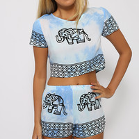 Swirl Elephant Set - Light Blue
