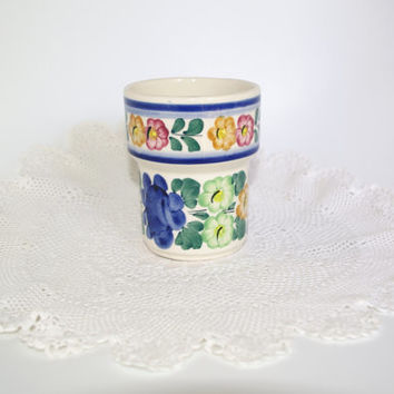 Hand painted Polish vintage ceramic mug Made in Poland Wloclawek Polish folk art/ beautiful flower pattern glazed /USSR Cup / Polish pottery