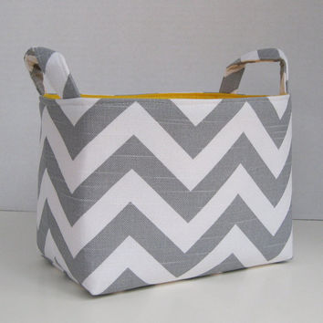 Fabric Organizer Bin Storage Container Basket - Ash Gray and White Slub Chevron - Yellow Lining