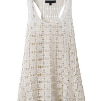 LE3NO Womens Lightweight Loose Fit Racerback Crochet Tank Top (CLEARANCE)
