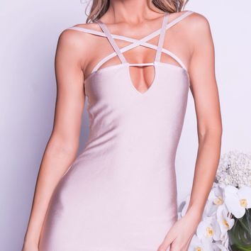 DONALI BANDAGE DRESS IN NUDE