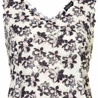 Abstract Floral Print Scallop Vest - White