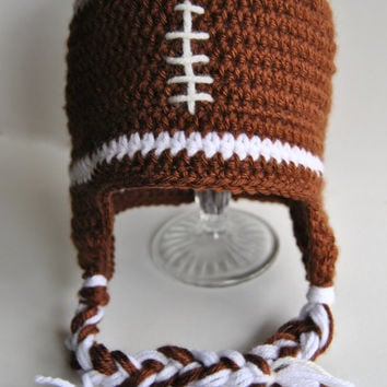 Football Hat, Crochet Football, Mens Football Hat, Knit Football Hat, Newborn Photo Prop, Boys Fall Hat, Kids Football Hat, Brown Winter Hat