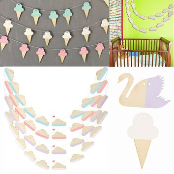10Pcs Swan/Cloud/Ice Cream Shape Wooden Hanging Garland Nursery Home Children Bedroom Wall Decorations
