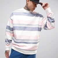 ASOS Oversized Sweatshirt With Stripe at asos.com