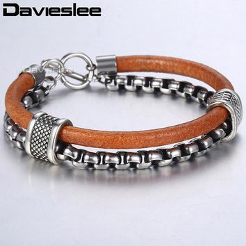 Davieslee Mens Leather Bracelet Stainless Steel Box Chain TO Buckle Clasp Brown Fashion Bracelets For Men LDLB70