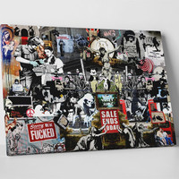 Banksy Collage Gallery Wrapped Canvas Print
