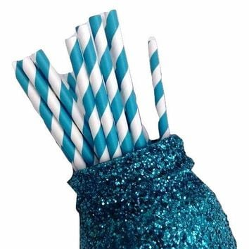 "7.75"" teal green stripe print paper straws / 6-25 pieces"