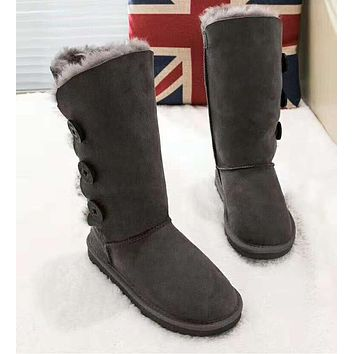 UGG: Popular Women Three Buttons Leather Wool Boots In Tube Grey