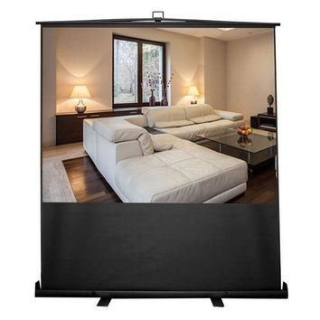 100-Inch Floor Standing Portable Easy Roll-Up Pull-Out Projection Screen Matte White