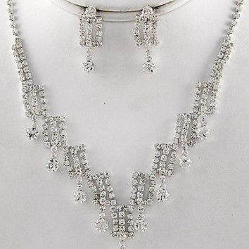 Danity and Chic Swag Clear Rhinestone Bridal Bridesmaid Necklace Earring Set
