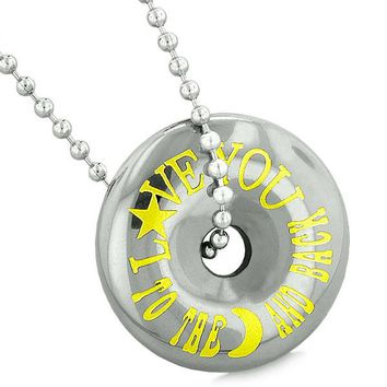 Inspirational Love You to the Moon and Back Amulet Coin Lucky Donut Hematite Pendant Necklace