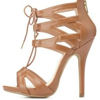 Caged Cut-Out Lace-Up Heels by Charlotte Russe - Cognac