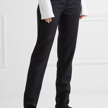 Maggie Marilyn - Don't Frill With Me ruffle-trimmed pinstriped wool skinny pants