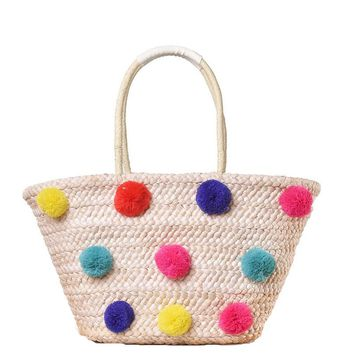 Colorful Wool Ball Pom Beach Bag Shopping Basket Chic Woven Straw Handbags for Women Large Shoulder Bag Novetly Summer Totes A31