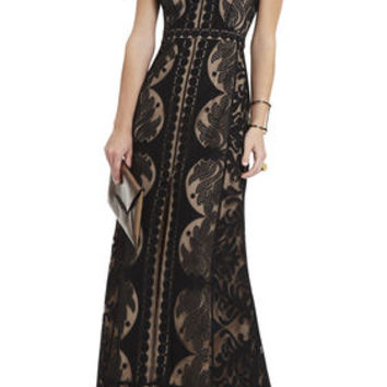 Black BCBG Cailean Lace Maxi Dress