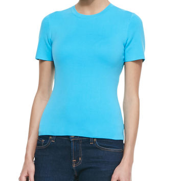 Short-Sleeve Crewneck Tee, Sea - Michael Kors