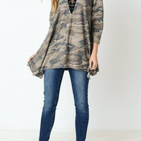 Camouflage Lace Up Front Tunic Top