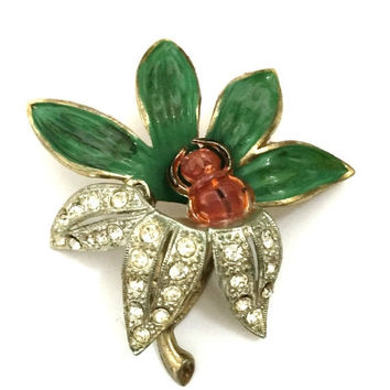 Little Nemo Pot Metal Floral Brooch, Enamel Green Leaves, Brown Enamel Bug, Pave Ice Chatons, Mixed Metal