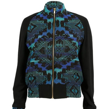 Liquorish Blue/green aztec print jacket