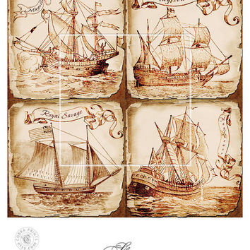 Antique Ships - 5 Digital Collage Sheets CP-189 - 4x4 inch tiles for Scrapbooking Coasters Stickers - Instant Download