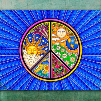 "Peace Sign  Tapestry Wall Hanging 50""x75"" by Artist Dan Morris"