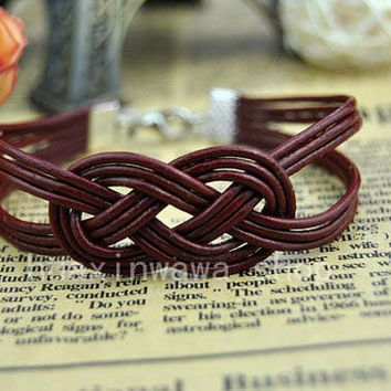 Traditional decorative pattern Bracelet,Color brown leather braided bracelet,Charm jewelry Sexy bracelet,friendship gift