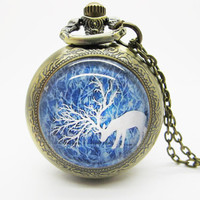 Vintage Glass Pocket Watch Necklace / Deer  Pocket Watch Necklace  - Buy 3 Get 4th One Free PW116