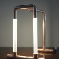 Copper LED Pipe Lamp • The Trois • Copper Pipe • Desk Lamp • Accent Lighting • Pipe Light • LED Jewelry Stand