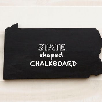 Pennsylvania state shape sign wood cutout Chalkboard wall art message board. 34 non-chalkboard colors. College Dorm Country Cottage Decor