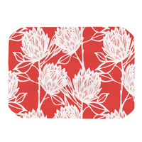 "Gill Eggleston ""Protea Strawberry White"" Red Flowers Place Mat"