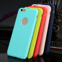 Cute Candy Color TPU Soft Silicon iPhone 6 Case with Logo Window