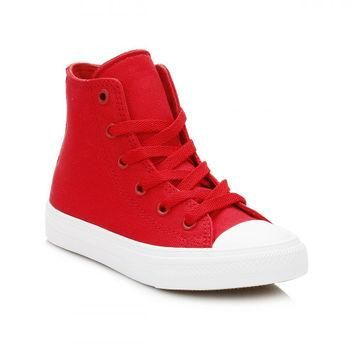 Converse All Star Chuck Taylor II Junior Salsa Red/White Hi Trainers