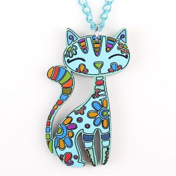 Acrylic Cat Pendant Necklace  For Women Chain Fashion Jewelry Collar Statement Necklace Choker Animal Styles