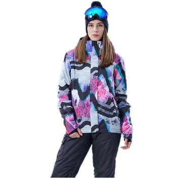 Women Ski Jacket Ski Wear Waterproof Windproof Snowboard Jacket Outdoor Sport Wear Skiing Snowboard Jacket
