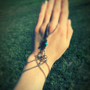 Tribal hand chain,gypsy bracelet,boho armlet,turquois jewelry,hand slave chain,gemstone bracelet,festival jewelry,mystical body chain,