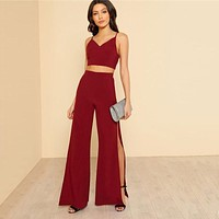 Burgundy Crop Cami Top And Pants Set 2 Piece Outfits For Women Sexy V Neck Top High Slit Wide Leg Pants Sets