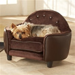 Plush Dog Bed Sofa with Headboard in Brown Pebble Color
