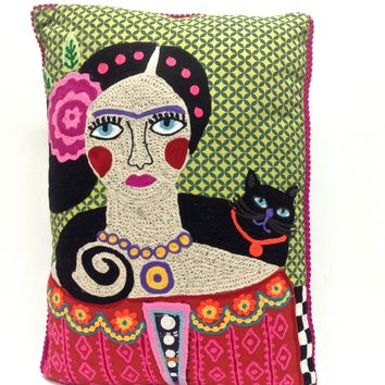 Super cool to have an iconic piece of Embroidery Mujer Con Gato Negro Frida Kahlo Pillow at you couch, sofa or bedroom in your house, featuring hands embroidered detailing at front of pillow, fuchsia pom-pom trimmed, zip closured and removable cotton fille