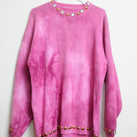 Amazing Vintage 80s/90s Tie Dye Pink Bedazzled Jewels And Gold Beads Long Sleeve Oversized Sweater Unisex