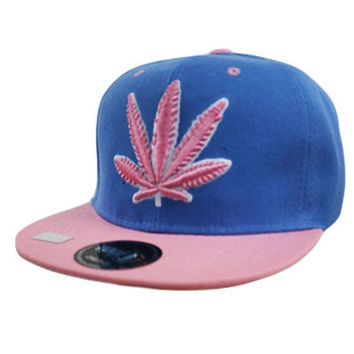 * Marijuana Leaf Snap back In Blue Pink