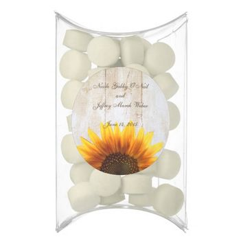 Rustic Country Custom Wedding Wood & Sunflowers Chewing Gum Favors