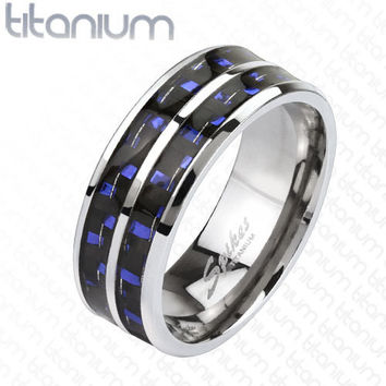 8mm Blue Carbon Fiber Inlay with Slit Center Band Ring Stainless Steel Men's Ring