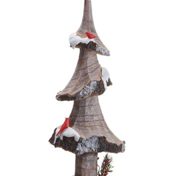 "18"" Rustic Lodge Country Tree with Star and Birds Christmas Table Top Decor"
